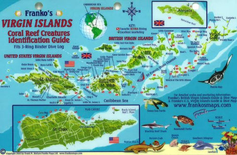 Buy map Caribbean Fish Card, Virgin Islands Reef Creatures 2010 by Frankos Maps Ltd.