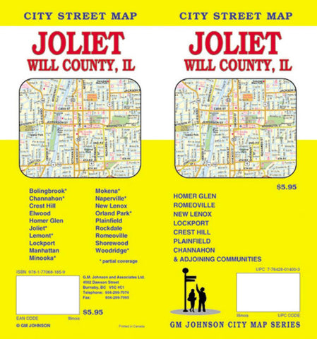 Buy map Joliet and Will County, Illinois by GM Johnson