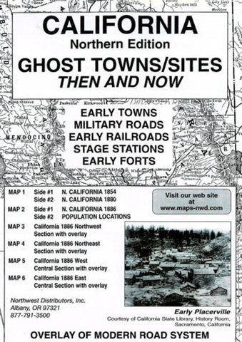 Buy map California, North, Ghost Towns, 6-Map Set, Then and Now by Northwest Distributors