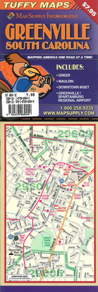 Buy map Greenville, South Carolina  Laminated Tuffy Map by Tuffy Maps