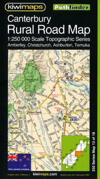 Buy map Canterbury, New Zealand, Rural Roads Topographic Map by Kiwi Maps