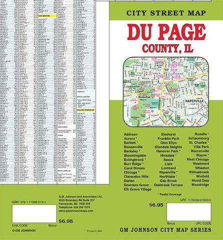 Buy map Du Page County, Illinois by GM Johnson