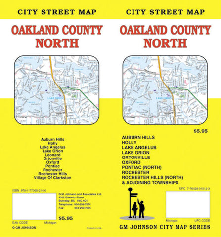 Buy Map Oakland County North Michigan By Gm Johnson Yellowmaps