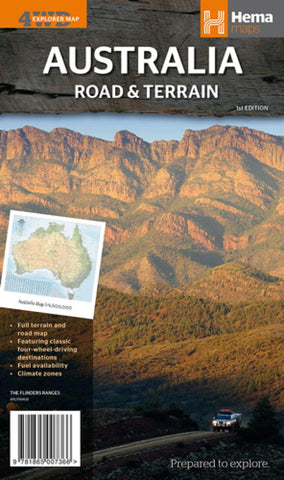 Buy map Australian, Road and Terrain Map, 4WD Explorer by Hema Maps