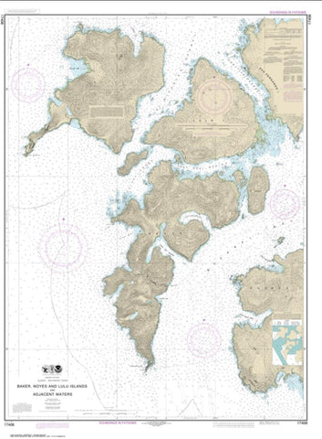 Buy map Baker, Noyes, and Lulu Islands and adjacent waters (17406-8) by NOAA
