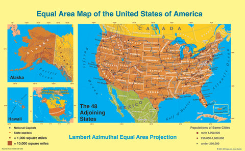 Buy map United States, Equal Area Projection, laminated by ODT, Inc.