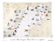 Buy map Lake Michigan, Northern Lights by Avery Color Studios