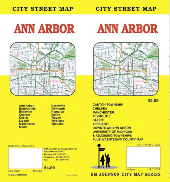 Buy map Ann Arbor, Michigan by GM Johnson