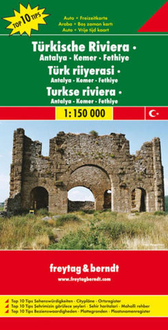 Buy map Turkish Riviera, Antalya, Kemer and Fethiye by Freytag-Berndt und Artaria