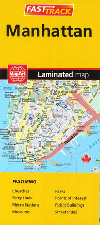 Buy map Manhattan Fast Track, Laminated Map by MapArt Corporation