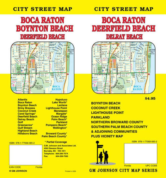 Buy map Boca Raton, Deerfield Beach, Boynton Beach, and Delray Beach, Florida by GM Johnson