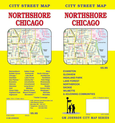 Buy map Chicago, Illinois, Northshore by GM Johnson