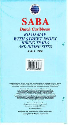 Buy map Saba, Dutch Caribbean, Road Map by Kasprowski Publisher