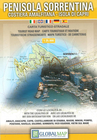 Buy map Sorrento Peninsula, Italy by Litografia Artistica Cartografica