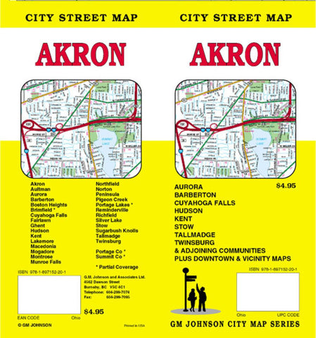 Buy map Akron and Summit County Ohio by GM Johnson YellowMaps