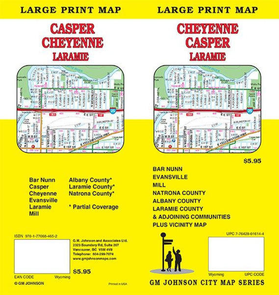 Buy map Cheyenne, Casper, and Laramie, Wyoming, Large Print Map by GM Johnson