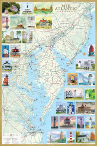 Buy map Mid-Atlantic Lighthouses Map, Laminated Poster by Bella Terra Publishing LLC
