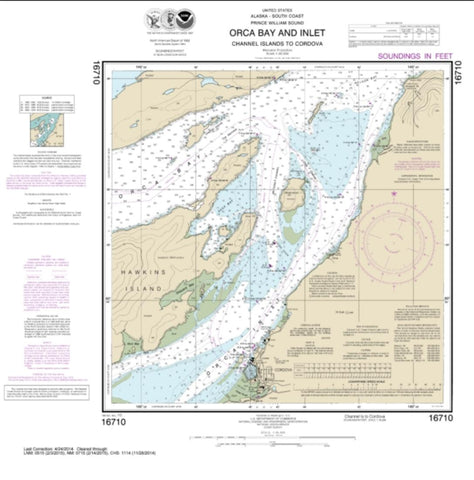 Buy map Orca B. and ln.-Channel ls. to Cordova (16710-18) by NOAA