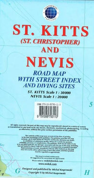 Buy map St Kitts and Nevis, Caribbean, Road Map by Kasprowski Publisher