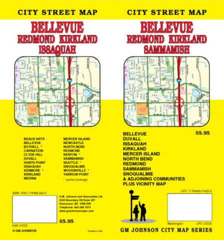 Buy map Bellevue, Redmond, Kirkland and Sammamish, Washington by GM Johnson