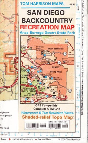 Buy map San Diego Backcountry, California by Tom Harrison Maps
