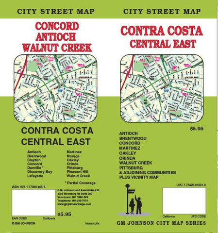 Buy map Contra Costa, Central and East, California by GM Johnson
