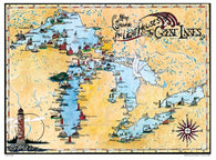 Buy map Great Lakes, Lighthouse Map by Avery Color Studios