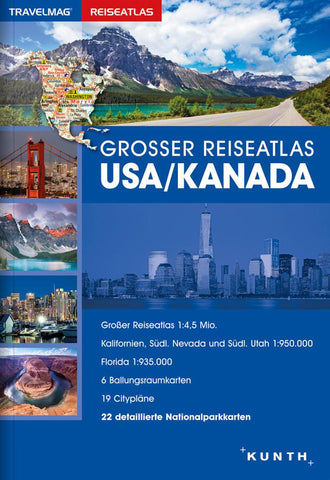 Buy map USA/Canada, Large Travel Atlas (German ed) by Kunth Verlag
