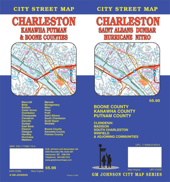 Buy map Charleston, Kanawha, Putnam, Boone, St Albans, West Virginia by GM Johnson