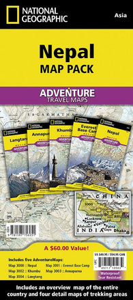 Buy map Nepal Map Pack Bundle by National Geographic Maps