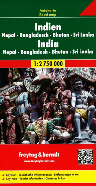 Buy map India, Nepal, Bangladesh, Bhutan and Sri Lanka by Freytag-Berndt und Artaria