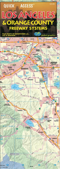 Buy map Los Angeles, California, Freeway, Quick Access Map by Global Graphics
