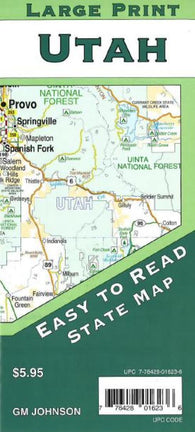 Buy map Utah Large Print State Map by GM Johnson