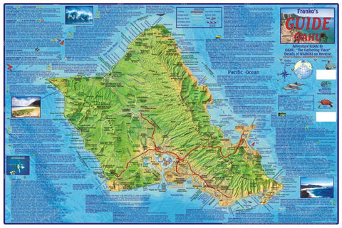 Buy map Oahu Guide Map, Laminated by Frankos Maps Ltd.