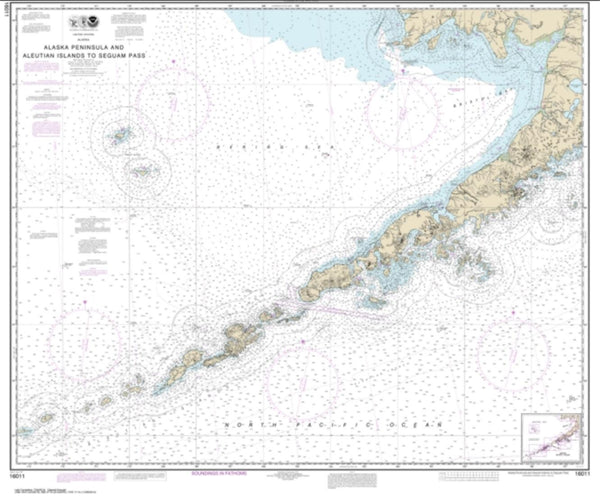 Buy map Alaska Peninsula and Aleutian Islands to Seguam Pass (16011-38) by NOAA
