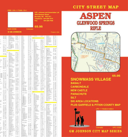 Buy map Aspen, Glenwood Springs and Rifle, Colorado by GM Johnson