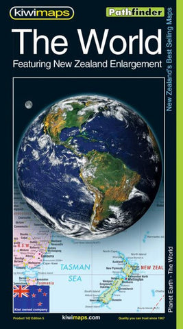 Buy map The World with New Zealand Enlargement, Pathfinder Map by Kiwi Maps