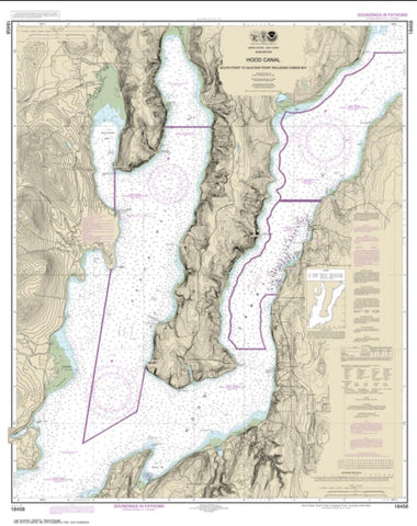 Buy map Hood Canal-South Point to Quatsap Point including Dabob Bay (18458-17) by NOAA