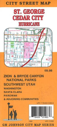 Buy map St. George, Cedar City and Hurricane, Utah by GM Johnson
