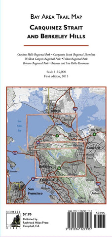 Buy map Bay Area Trail Map: Carquinez Strait and Berkeley Hills by Redwood Hikes Press
