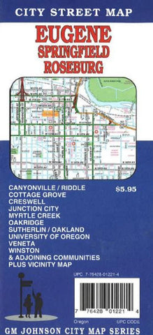 Buy map Eugene, Springfield and Roseburg, Oregon by GM Johnson