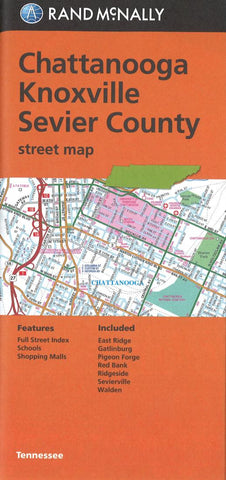Buy map Chattanooga, Knoxville and Sevier County, Tennessee Street Map by Rand McNally