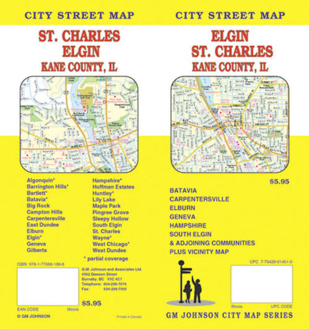 Buy map Elgin, St. Charles and Kane County, Illinois by GM Johnson