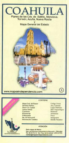 Buy map Coahuila, Mexico, State and Major Cities Map by Ediciones Independencia