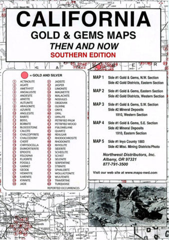 Buy map California, South, Gold and Gems, 5-Map Set, Then and Now by Northwest Distributors