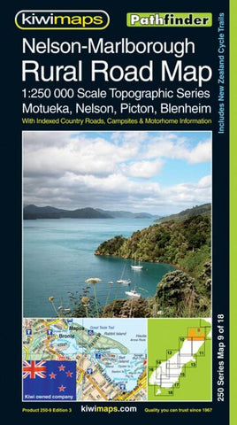 Buy map Nelson, Marlborough, New Zealand, Rural Roads Topographic Map by Kiwi Maps