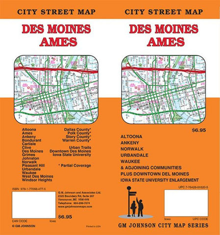 Buy map Des Moines and Ames, Iowa by GM Johnson