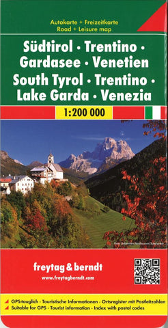Buy map South Tyrol, Trentino, Lake Garda and Venice, Italy by Freytag-Berndt und Artaria