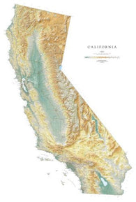 Buy map California, Physical, small, laminated by Raven Press