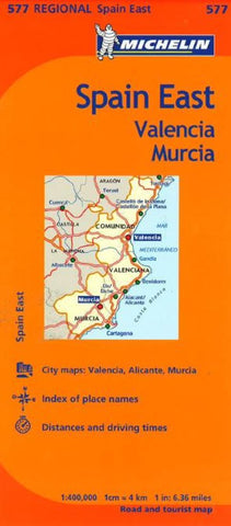 Buy map Valencia, Murcia and Eastern Spain (577) by Michelin Maps and Guides
